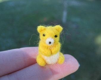 Needle Felted Miniature Yellow Bear Tiny Figure