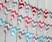 Chevron mini pennant flags. Pink wedding Bunting, Gray party decoration. Aqua fabric sewn flag banner. Red Photo prop.