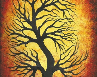 Fall tree, Tree painting, Modern Art, Original Acrylic painting by Jordanka Yaretz