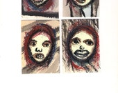 ACEO Set 4 Original Paintings, Art Cards, Outsider Art