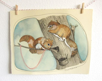 Sale - Art - Painting - Flying Squirrels - Squirrel Painting - Original Watercolor - Watercolor Painting - Squirrel Art - Squirrely Friends