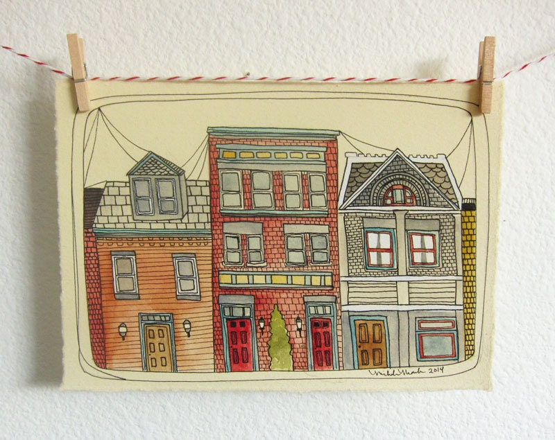 Pittsburgh Row Houses Illustration of Pittsburgh by ...