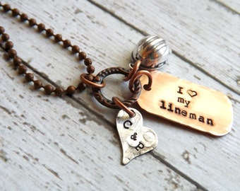 lineman necklace-Lineman-wife-telephone-oil field wife-handstamped necklace-personalized-necklace-hardhat-pipeliner-utility
