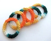 Cat Ferret Toys Toy Recycled Rings Green Orange Yellow Handmade Michigan CurlyGirlCrochet Sunflower Colors