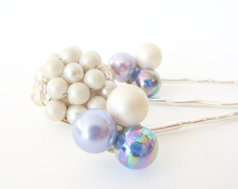 Something Blue No.90 - Shimmering Vintage Pearl and Blue Jewel Hair Pins, Something Blue, Bridal Hair Accessory, Prom, Special Occasion