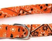 XS Dog Collar - Orange Bandana -  Extra Small, Teacup, Miniature - Cute, Soft and Handmade