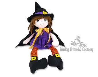 Witch Halloween Doll INSTANT DOWNLOAD Sewing Pattern PDF