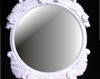 Gloss White Skull Round  Frame Mirror  Shabby Chic Baroque Gothic Victorian Tattoo