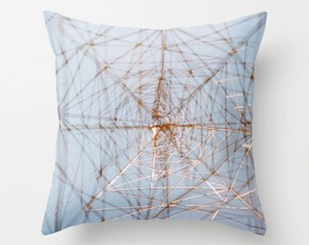 photo throw pillow cover. sky blue accent pillow. geometric industrial decor. decorative pillow cover pale blue silver abstract photography