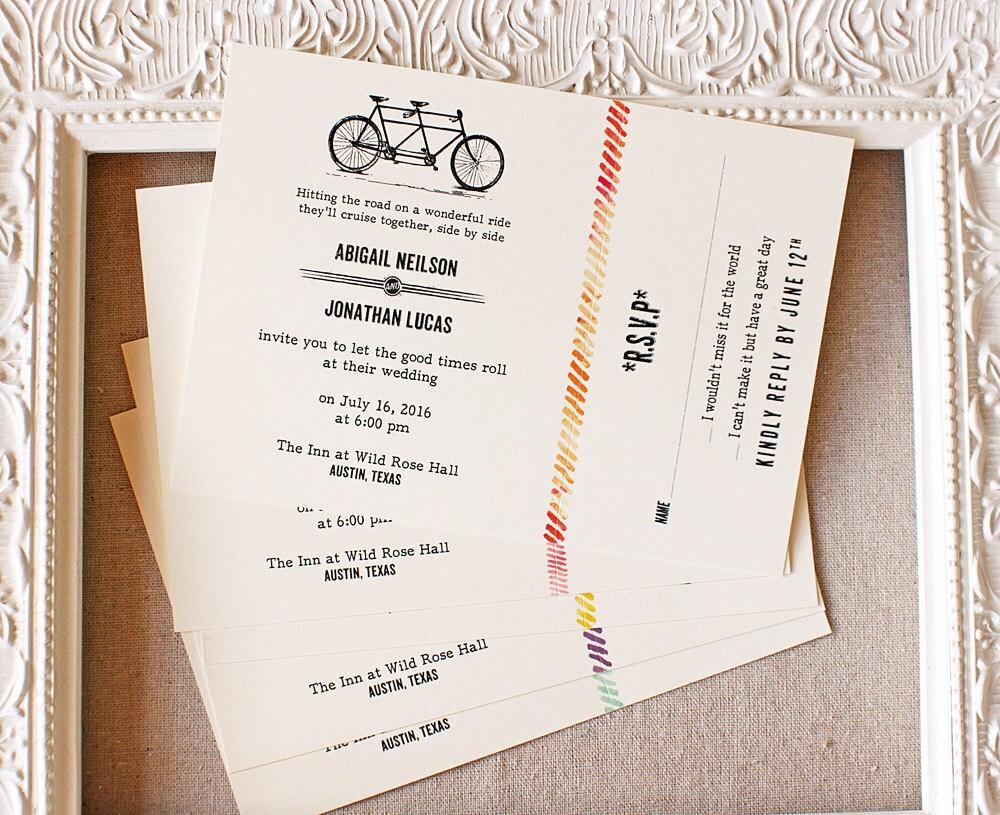 Tandem Bike Wedding Invitations: Tandem Bike Wedding Invitation Vintage Watercolor Rustic