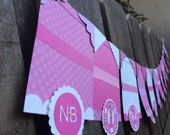 13 month photo banner pink and white first birthday banner 4x6 photos