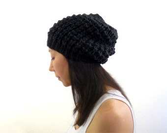LouLou Knit Lace Slouch / Slouchy Hat. Dark Charcoal Black. Wool Alpaca. Fall / Winter / Boho Style. Handmade in France.