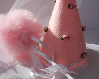 Princess Hat and Wand, Whimsy Wendy Hat and Wand Set for Princess Costume