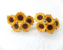 10 paper sunflowers - yellow paper flowers - mulberry paper sunflowers