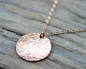 Large hammered rose gold disc necklace - 19mm 14K rose gold filled textured disk pendant