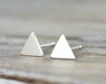 Small triangle earrings - sterling silver earrings