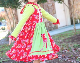 Girls dress Christmas Holiday red green corduroy applique apron twirl dress size 2T to 12 yrs Dancing Deer