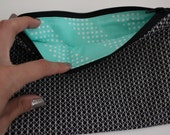 Black and White Zip Pouch with Aqua Lining