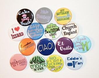 Eddie Izzard Buttons - 15 Button Pins Total