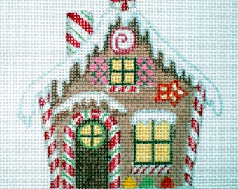 Handpainted  Needlepoint Canvas Peppermint Stick Gingerbread House