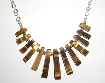 Tigers eye and sterling necklace