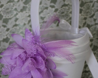 WHITE  Satin Flower Girl Basket with Lavender Flower and Feathers