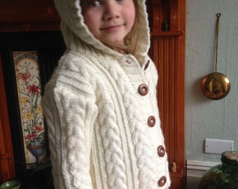 KNIT CHILDS JACKET/Aran Hooded Handknit Jacket-Sweater-Jerkin- Age 4-5yrs Ready to Ship