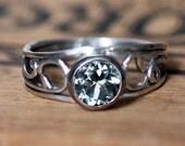 Sterling silver vine ring, green amethyst ring, silver vine swirl ring - February birthstone - bezel gemstone ring - ready to ship size 8.25