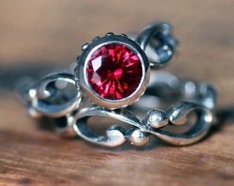 Ruby engagement ring - bezel engagement ring - recycled sterling silver - artisan jewelry - chatham lab created ruby - custom made to order