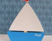 Personlised wood sailing boat nursery/ boys room decor blue/white/red with name baby/ christening gift hand-painted free standing