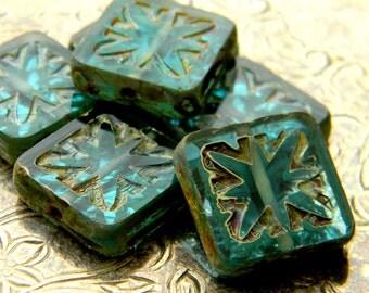 Atlantis Tiles (6) -Czech Glass Etched Squares 15mm