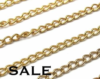 Vintage Gold Plated Curb Chain Pieces - Not Soldered (8x) (C608) SALE - 25% off