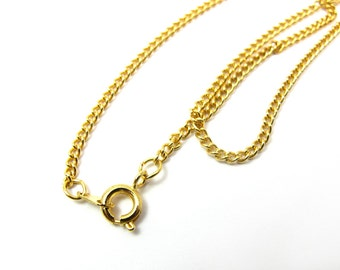 Vintage Gold Plated Curb Chain Necklaces (18inch) ( 4X) (C585)