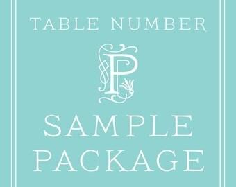 Wedding Table Number SAMPLE PACKAGE