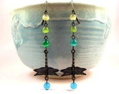 LONG Dragonfly Earrings, Dragonfly Forest, Colorful and Brass Dangle Earrings, FREE Shipping U.S.
