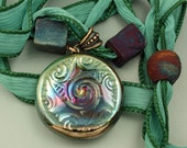 Raku Celtic Triskele Silk Ribbon Necklace