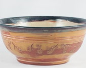 Rustic Carved Serving Bowl, handmade wheel-thrown stoneware pottery