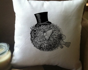 pufferfish with top hat decorative throw pillow cover