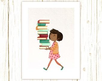 Library Girl 4 Art Print -- librarian, teacher, book, reader, geek, nerd, gift, girl, african american, cute, whimsical