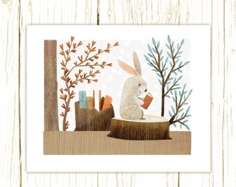 bunny art print -- The Bookish Forest: Bunny - childrens art illustration nursery print cute and whimsical woodland forest