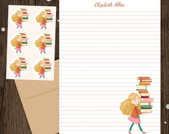 Personalized Stationery - Mini Letter Writing Set - Library Girl 2 - Stationery Set Library Books Reading Librarian Teacher gift blonde