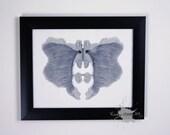 Grey Ink blot Art Rorschach inspired ORIGINAL 8x10