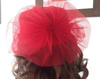 80s Bright Red Tulle Bow Hat