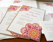 PRINTABLE - Talavera Tile Inspired Invitation in Pink Orange and Tan for Weddings or Events