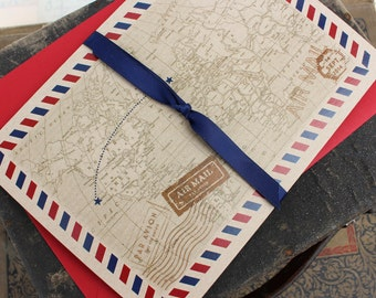 Vintage Air Mail Printed Pocket Fold Wedding Invitation (Scotland) - Design Fee