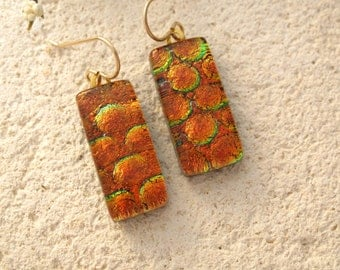 Copper Red Earrings - Fused Glass Jewelry - Dichroic Jewelry - Dichroic Earrings - Fused Glass Earrings - Gold Filled Earrings 110314p105