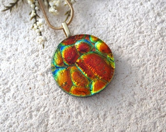 Golden Copper Red Necklace,Dichroic Necklace, Fused Glass Pendant, Dichroic Fused Glass Jewelry, Red Necklace, Gold Necklace  020515p102