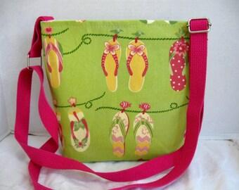 Flip Flop Cross Body Purse - Hip Bag - Summer Sling Bag - Long Adjustable Strap - Flip Flop Hipster