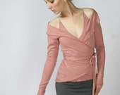 wool ballerina wrap sweater with foldover collar - made to order