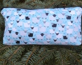 Sheep flat bottom bag, flat bottom pouch, cosmetic case, knitting notions pouch, Little Sheep on blue or pink, The Zini